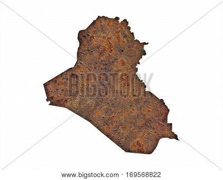Map Of Iraq On Rusty Metal