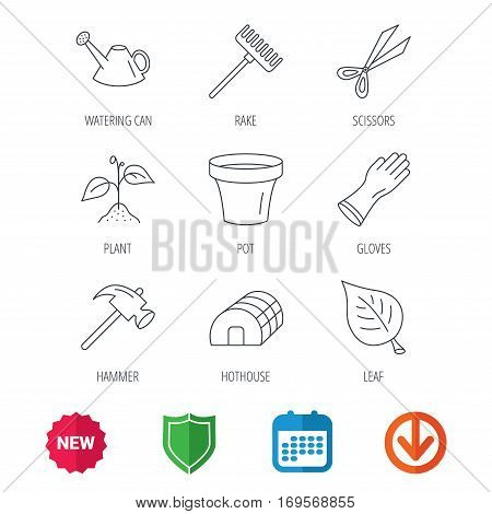Sprout plant, scissors and pot icons. Gloves, rake and watering can linear signs. Hothouse, leaf and hammer flat line icons. New tag, shield and calendar web icons. Download arrow. Vector