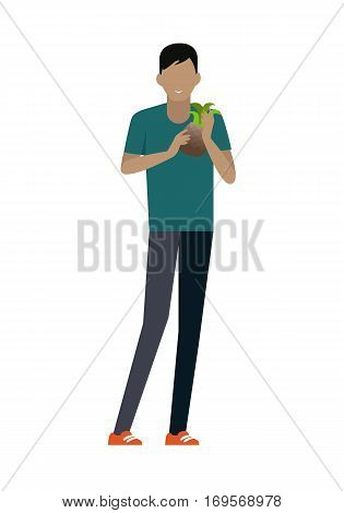 Male customer character vector template. Flat design. Buyer in grocery shop. Smiling man with pineapple in hands standing on white background. Consumer choice and shopping in mall concept.