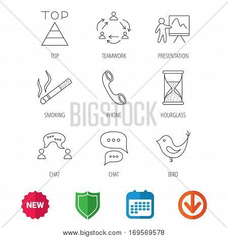 Teamwork, presentation and phone call icons. Chat speech bubble, hourglass and bird linear signs. Smoking, pyramid icons. New tag, shield and calendar web icons. Download arrow. Vector