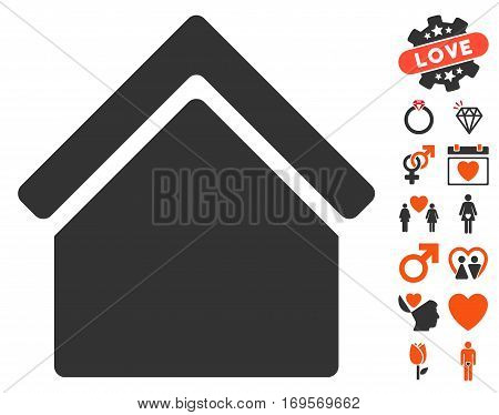 Home icon with bonus dating graphic icons. Vector illustration style is flat iconic symbols for web design app user interfaces.