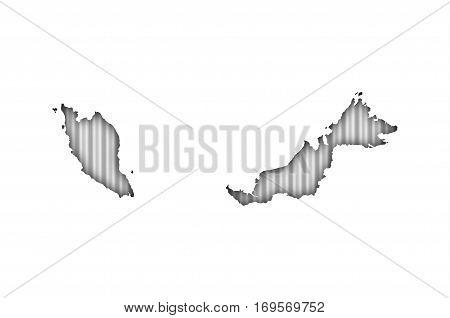 Map Of Malaysia On Corrugated Iron