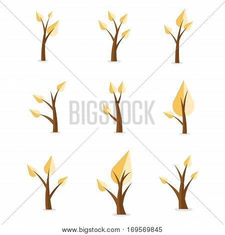 Collection stock of tree set style vector illustration
