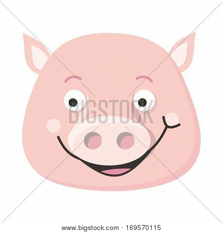 Smiling pig face vector. Flat design. Animal head icon. Illustration for nature concepts, children s books illustrating, printing materials, web. Funny mask or avatar. Isolated on white background