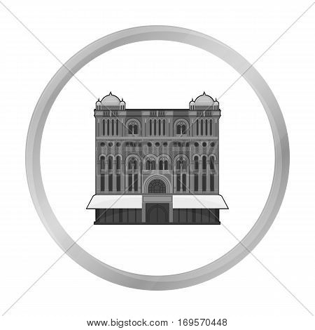 Queen Victoria Building icon in monochrome design isolated on white background. Australia symbol stock vector illustration.