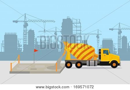 Pouring concrete on construction vector concept. Concrete mixing truck on building site, silhouettes of buildings and cranes on background. For concreting process illustrating, building company ad