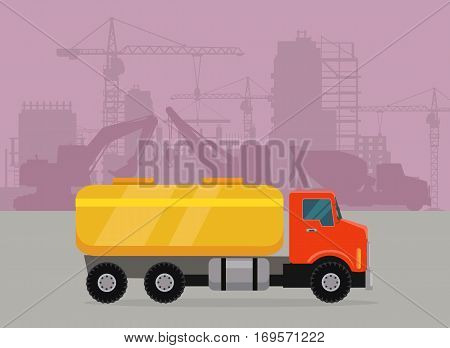 Cargo truck with tank for transporting liquids on building area. Flat design cement truck icon. Oil and gas industry concept. Trucking vector banner. For cargo companies, advertising. Vector