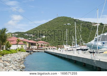 The view of marina pier in Charlotte Amalie town on St. Thomas island (U.S. Virgin Islands).