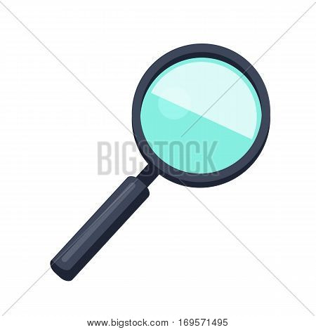 Magnifying glass icon. Loupe with blue glass and black handle. Search tool. Research tool. Business concept. Flat pictogram symbol. Isolated vector illustration on white background.