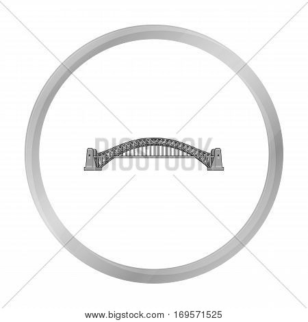 Sydney Harbour Bridge icon in monochrome design isolated on white background. Australia symbol stock vector illustration.