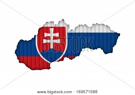 Map And Flag Of Slovakia On Corrugated Iron
