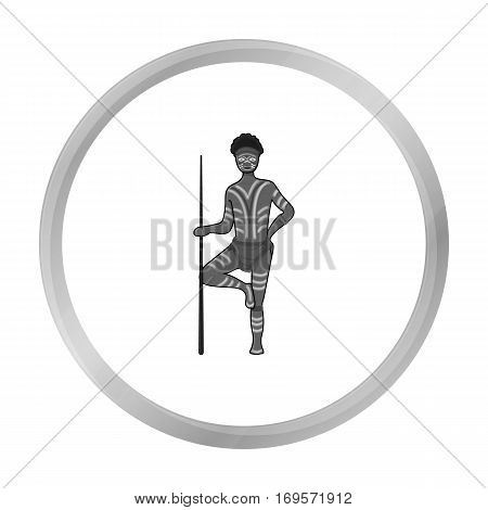 Astralian aborigine icon in monochrome design isolated on white background. Australia symbol stock vector illustration.