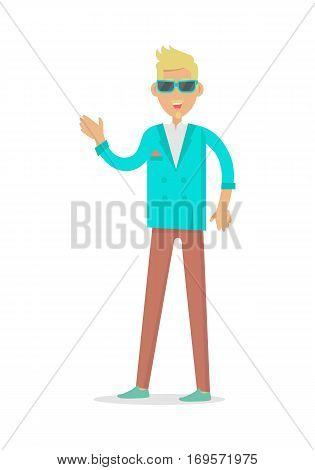 Elegant rich blond man in sunglasses. Rich man in expensive suit isolated on white. Successful businessman. Young person in stylish apparel. Handsome guy in modern clothes. Vector illustration