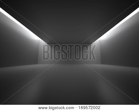 Empty Dark Room With Decorate Lights. Interior Background. 3d Render Illustration.