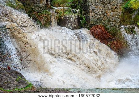 image of view of the waterfall after rain