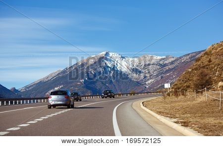 Guardiola de Bergueda Spain - January 05 2017: Traffic on the highway through the Pyrenees