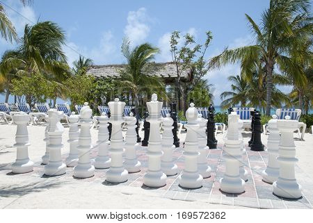 The big size chess waiting for players on Grand Turk island beach (Turks & Caicos).