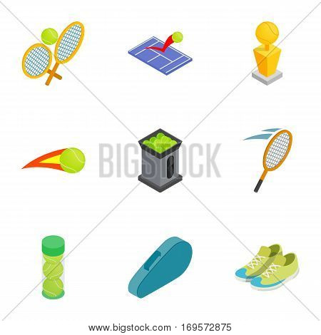 Tennis attributes icons set. Isometric 3d illustration of 9 tennis attributes vector icons for web
