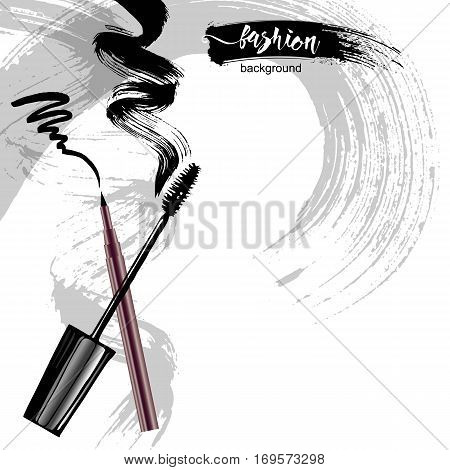 Mascara Eyeliner And Brush Stroke Vector, Beauty And Cosmetic Background. Vector Illustration.