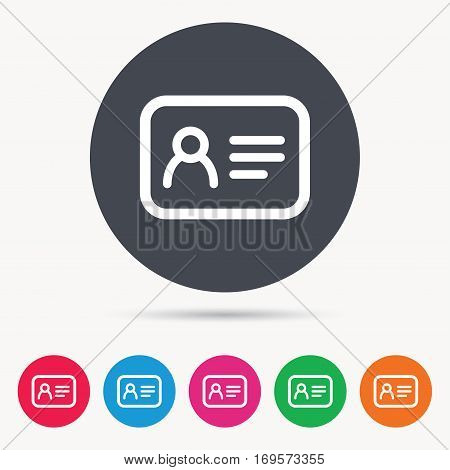 ID card icon. Personal identification document symbol. Colored circle buttons with flat web icon. Vector