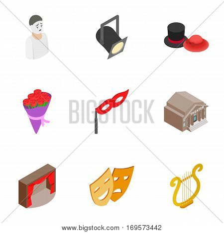 Opera icons set. Isometric 3d illustration of 9 opera vector icons for web