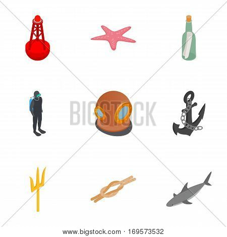 Diving icons set. Isometric 3d illustration of 9 diving equipment vector icons for web
