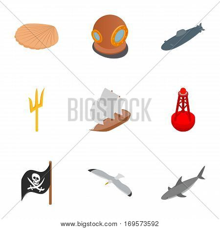Diver icons set. Isometric 3d illustration of 9 diver vector icons for web