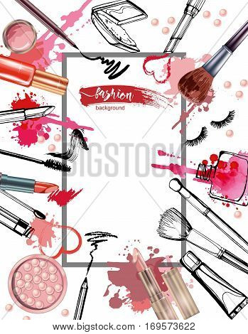 Cosmetics And Fashion Background With Make Up Artist Objects: Lipstick, Cream, Brush. With Place For