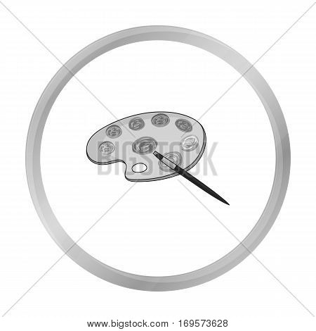 Painting palette with paintbrush icon in monochrome style isolated on white background. Artist and drawing symbol vector illustration.