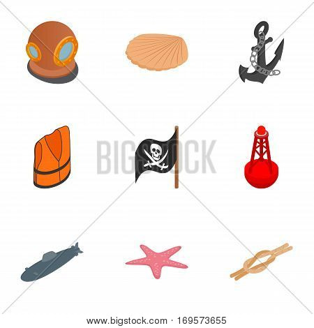 Pirate icons set. Isometric 3d illustration of 9 pirate vector icons for web