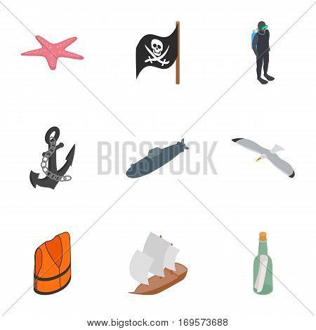 Nautical icons set. Isometric 3d illustration of 9 nautical vector icons for web