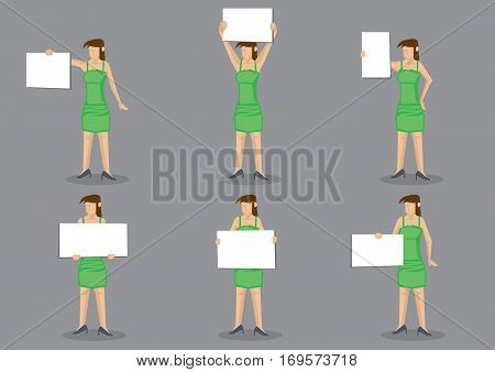 Set of six vector illustrations of young woman in green dress holding a blank placard sign with copy space isolated on grey background.