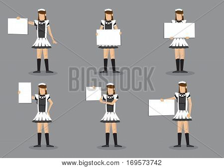 Set of six vector illustrations of girl in French maid uniform holding a blank sign with copy space isolated on grey background.