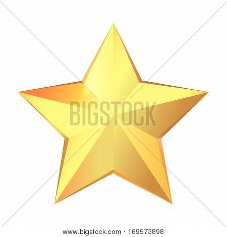 Big gold star icon isolated. Modern simple flat favorite sign with many facets. Beautiful yellow award. Shiny. Glossy. Winning. Prize. Achievement. Great triuph. Flat design. Vector illustration