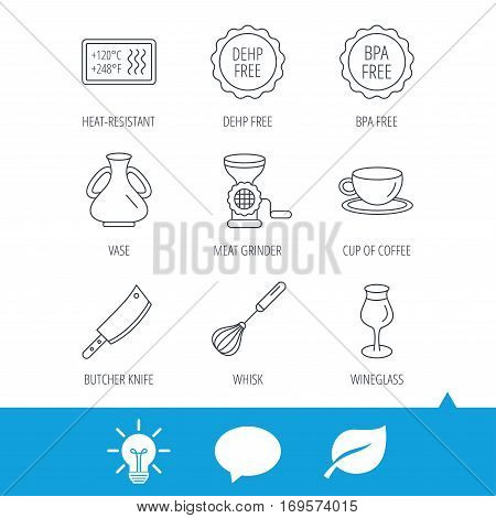 Coffee cup, butcher knife and wineglass icons. Meat grinder, whisk and vase linear signs. Heat-resistant, DEHP and BPA free icons. Light bulb, speech bubble and leaf web icons. Vector