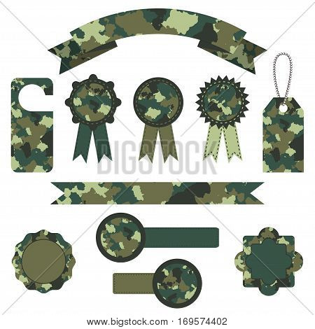 set of vector military camouflage labels in green colors. EPS