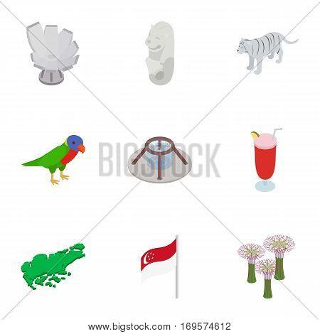 Singapore elements icons set. Isometric 3d illustration of 9 Singapore elements vector icons for web