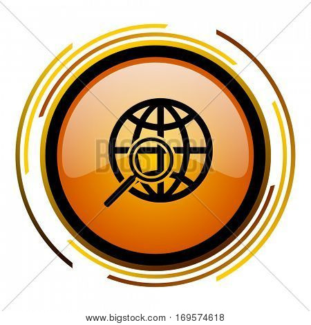 Global search engine vector icon. Modern design round orange button isolated on white background for web and applications in eps10.