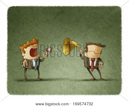 Businessman talks to another by a small megaphone the other businessman hears him with an ear trumpet