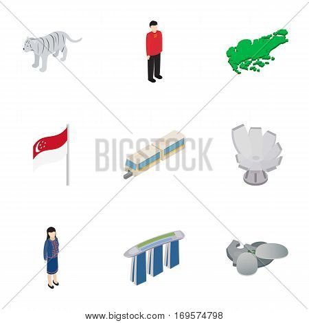 Welcome to Singapore icons set. Isometric 3d illustration of 9 welcome to Singapore vector icons for web