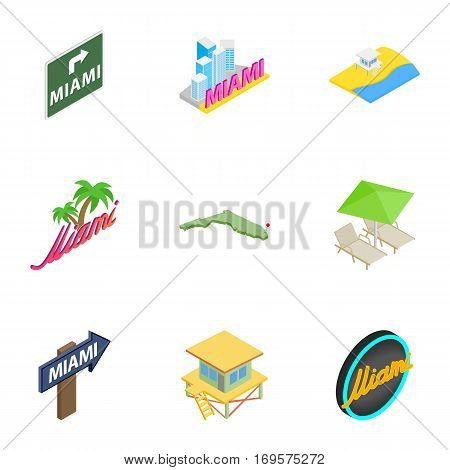 Welcome to Miami icons set. Isometric 3d illustration of 9 welcome to Miami vector icons for web