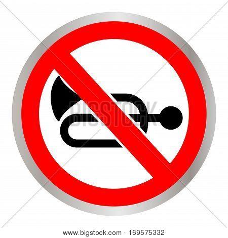 A Greek regulatory sign - no honking. Vector illustration