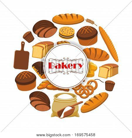 Bakery or baker shop poster with bread. Vector white wheat toast bread, rye loaf brick or bagel, braided bread and fresh baked pretzel, sweet sesame roll bun and croissant, flour bag and cutting board. Vector design for premium pastry