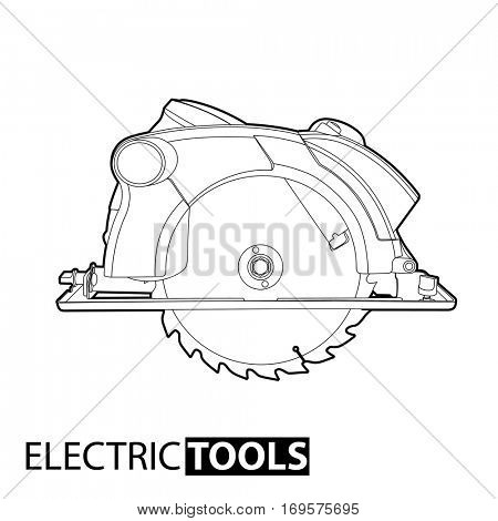 Outline circular saw on white background