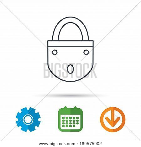Lock icon. Padlock or protection sign. Password symbol. Calendar, cogwheel and download arrow signs. Colored flat web icons. Vector