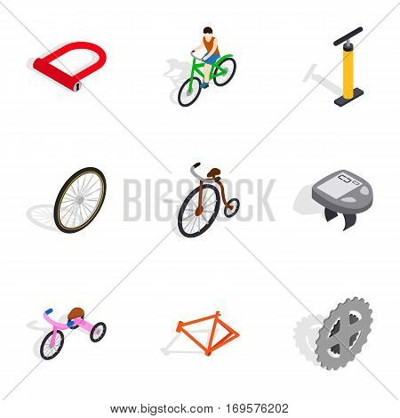 Bicycle icons set. Isometric 3d illustration of 9 bicycle vector icons for web