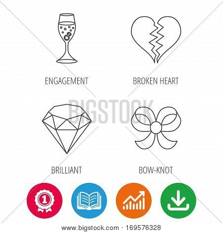 Broken heart, brilliant and engagement ring icons. Bow-knot linear sign. Award medal, growth chart and opened book web icons. Download arrow. Vector