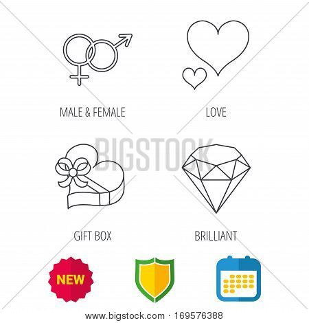 Love heart, gift box and brilliant icons. Male and female linear signs. Shield protection, calendar and new tag web icons. Vector