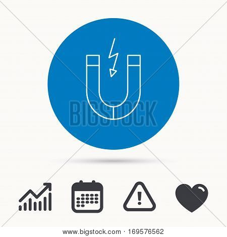Magnet icon. Magnetic power sign. Physics symbol. Calendar, attention sign and growth chart. Button with web icon. Vector