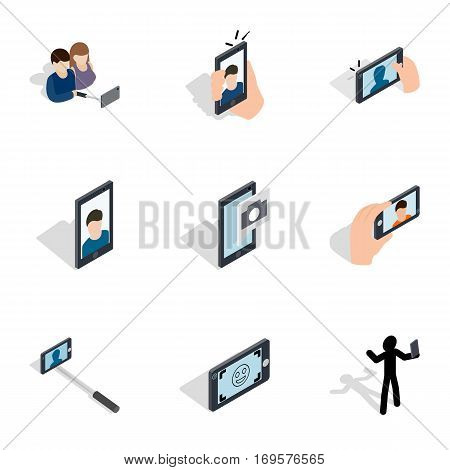 Selfie icons set. Isometric 3d illustration of 9 selfie vector icons for web